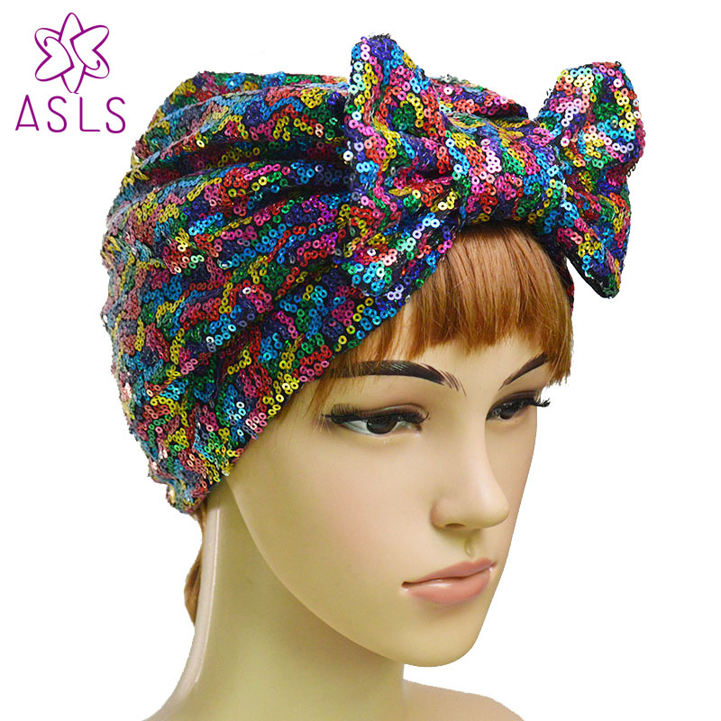 e8d19d0f12d Detail Feedback Questions about New Fashion Elegant Women Butterfly bow  Sequins headscarf wrap head turban soft knotted turban Beanie Cap Turbante  for ...