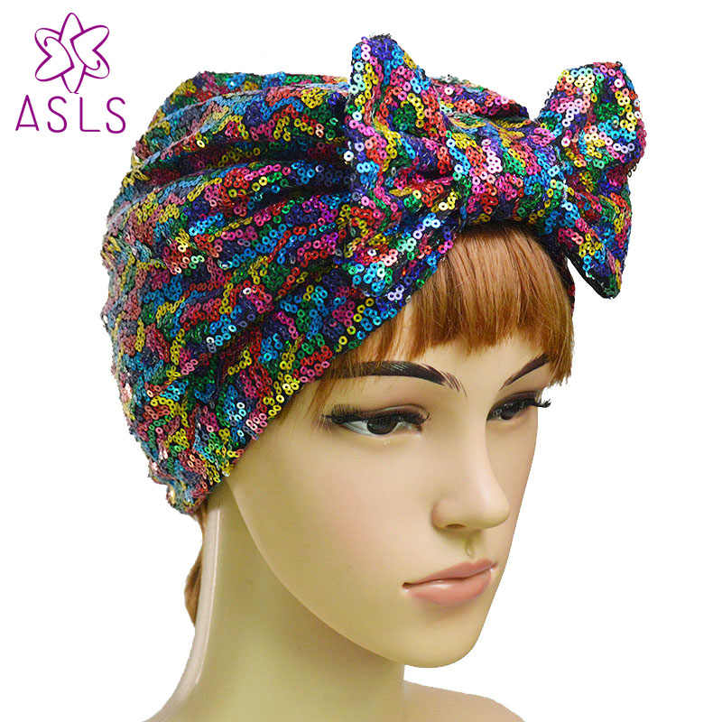 451bed0ef4f New Fashion Elegant Women Butterfly bow Sequins headscarf wrap head turban  soft knotted turban Beanie Cap