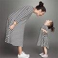 Мать И Дочь Платья Новый 2016 Весна Полосатый Хлопок O-образным Вырезом Мама И Дочь Платье Одежда Семья Clothing QZ011
