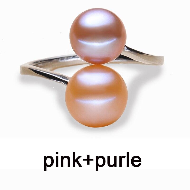 Schwarze Perle Ringe für Frauen natürliche Doppel Perle Herrenring - Edlen Schmuck - Foto 6