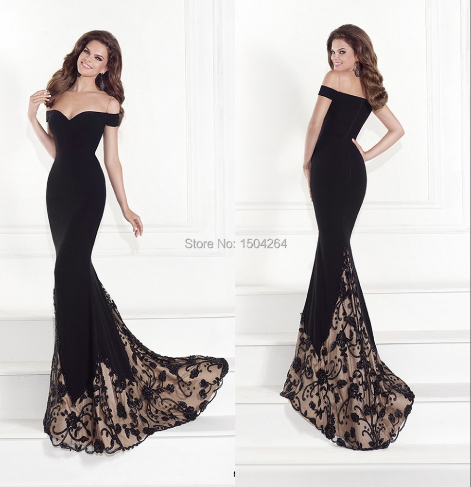 Long Black Evening Dresses Appliques Sexy Mermaid Evening Gown ...