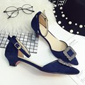 2016 Newest Spring Autumn Blue Pointed Toe Buckle Strap Low Heels Pumps Flock Rhinestone Button Two-Piece Heel Shoes For Woman