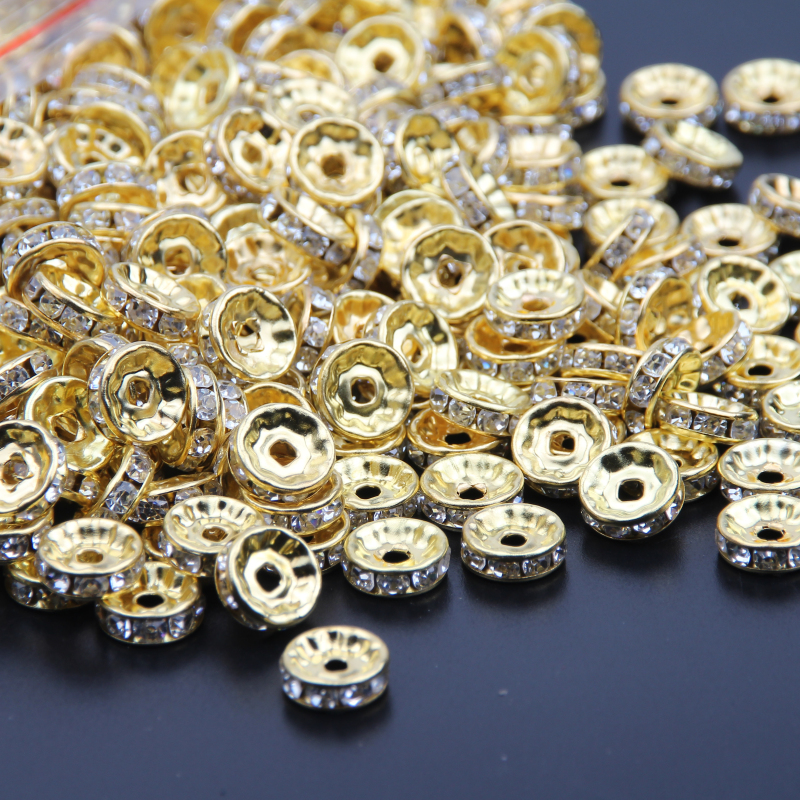Silver Gold Crystal Rhinestone Beads 6mm 8mm 10mm Rondelle Spacer Beading  Beads 500pcs pack For Bracelet Jewelry Making DIY-in Beads from Jewelry ... 64e22a8e50bb