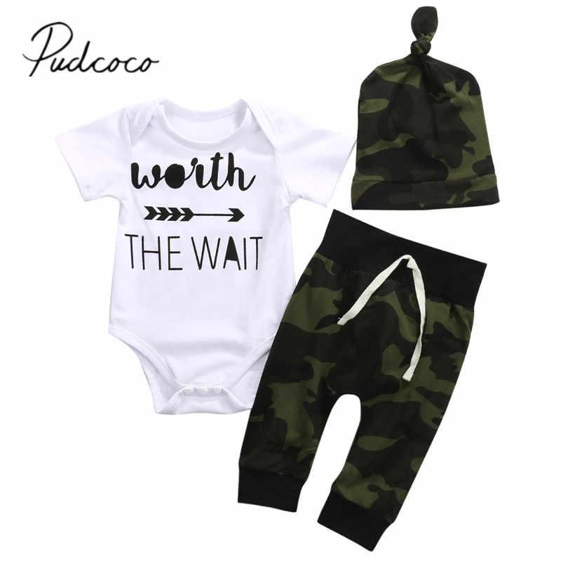 2018 nuevo verano bebé Infante niños conjuntos de ropa 3 uds de manga corta letras impreso blanco mameluco camuflaje sombreros y pantalones