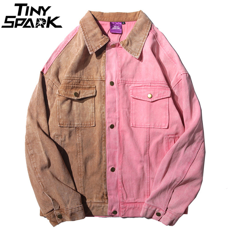 Herbst 2018 Mens Denim Jacken Vintage Farbe Block Patchwork Rosa Jacke Jeans Street Hip Hop Denim Bomber Jacke Mode