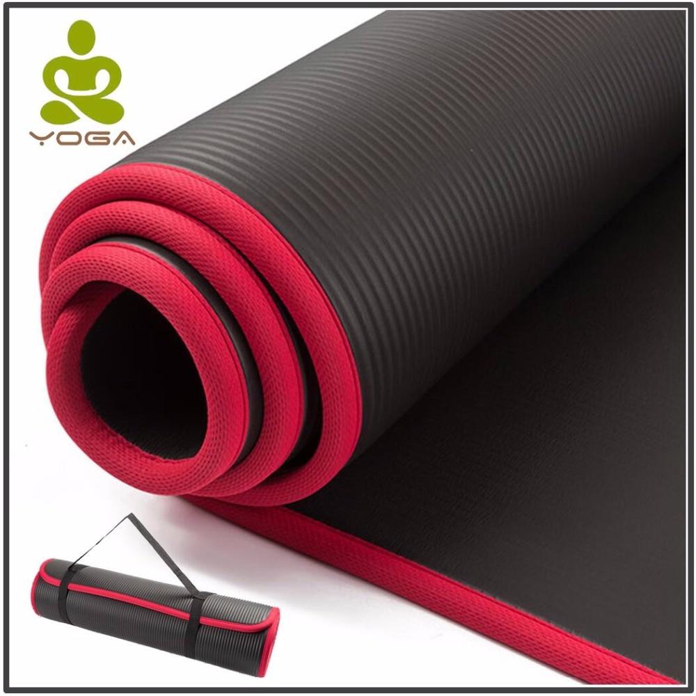 10 MM Extra épais 183 cm X 61 cm haute qualité NRB tapis de Yoga anti-dérapant pour Fitness sans goût Pilates Gym exercices tampons avec Bandages
