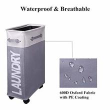 Rolling Corner Laundry Basket Slim Hamper with Mesh Cover Waterproof Clothes Toy Storage Bin Organizer hamper