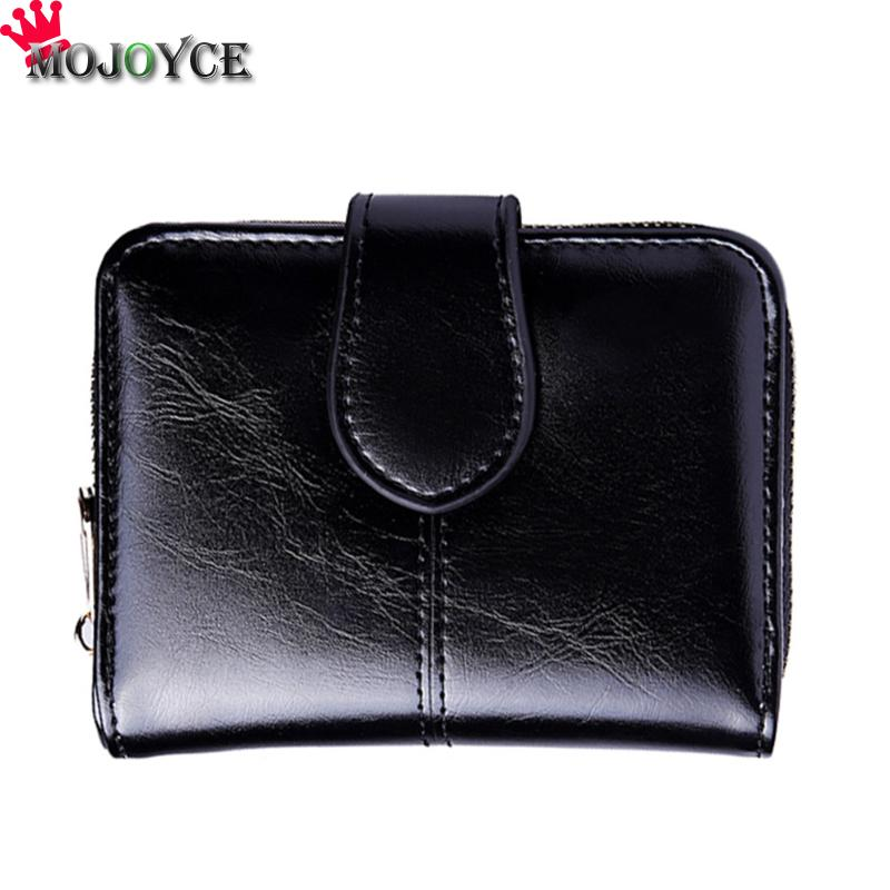 2018 New Female Short Wallet Women PU Leather Oil Wax Bifold Coin Purse ID Card Holder Photo Pocket Small Wallet Red Fashion