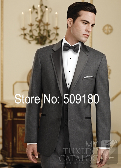 Customized Made Wool 2 Buttons Dark Gray Mans Wedding Suits Smoking Casamaento (Coat+Pants+Vest+Bow) RXF21 Takim Elbise