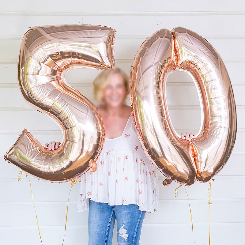 2pcs 32/40 inch Happy 50 <font><b>Birthday</b></font> Foil Balloons pink blue gold number <font><b>50th</b></font> Years Old <font><b>Party</b></font> Decorations Man Boy Girl Supplies image