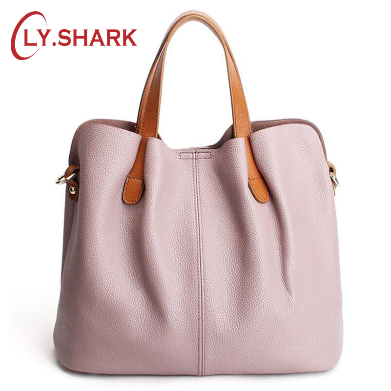 LY.SHARK Ladies Genuine Leather Bag Women Messenger Bags Handbags Women Famous Brand Crossbody Bags For Women Shoulder Bag Pink caerlif famous brand genuine leather bags for women solid flower multicolor ms shoulder bag women large package messenger bags