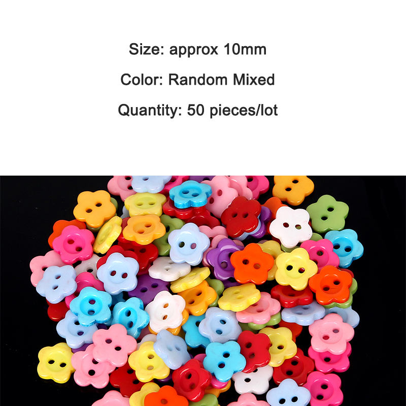 Kids Sewing <font><b>Buttons</b></font> Plastic Clothes <font><b>10MM</b></font> 50pcs 2-Holes Flower Shape Random Mixed Color Garment Accessories Scrapbooking Handmade image