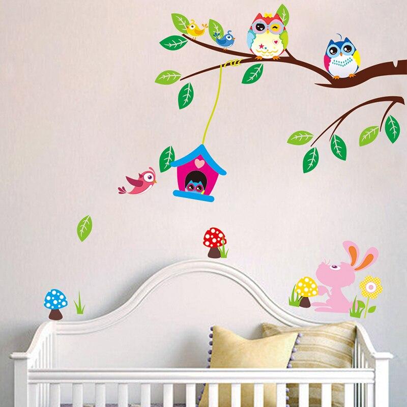 Colorful Owl Cartoon Animals Birds On Branch Nursery Wall