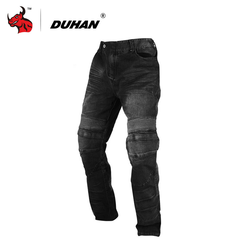 DUHAN Motorcycle Jeans Motocross Racing Jeans Black Casual Pants Wearproof Casual Pants With Knee Protector Guards moto pants risk racing 00 110 black motocross grip donuts with blister protection