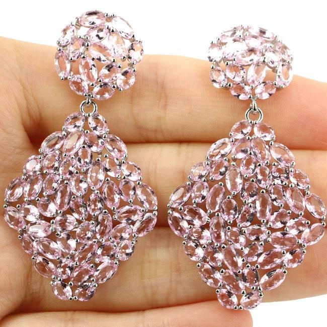 New Designed Big Size Pink Kunzite Woman's Wedding 925 Silver Earrings 53x29mm jones new york new pink women s size 12 split neck button down blouse $59