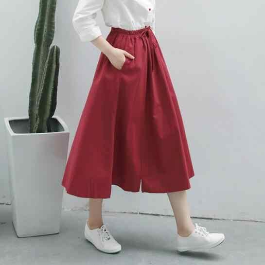 חדש אביב נשים קו Midi חצאית אלסטי מותניים טהור צבע נקבה חצאיות אדום כהה כחול כותנה פשתן אלגנטי חצאית DV543