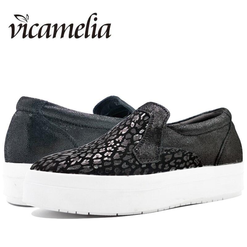 Vicamelia 2017 Fashion Women Platform Loafers Leopard Genuine Leather Women Creeper Ladies Flat Platform Shoes 019 fashion tassels ornament leopard pattern flat shoes loafers shoes black leopard pair size 38
