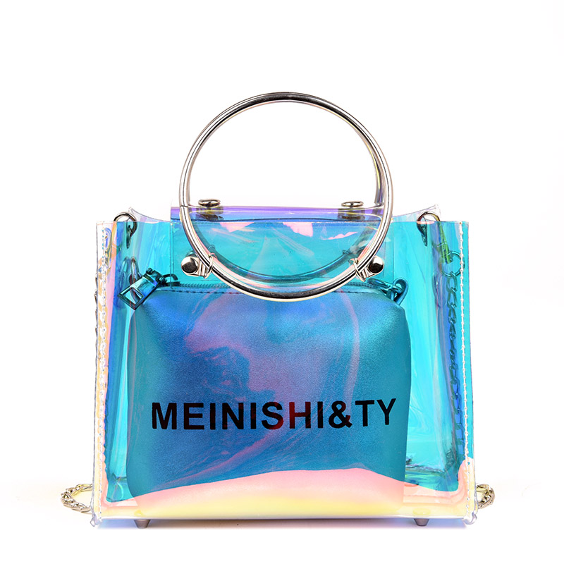 2019 New Brand Women 's Handbags Laser Korean Style Bags Transparent Shoulder Bags Jelly Candy Strap Clear Women Bag