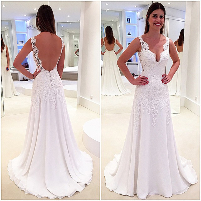 New Style Wedding Dress V Neck Backless Tank Sleeves With Lace Liques A Line Gown