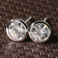 Queen Brilliance Real 18K 750 White Gold Push Back 1 Carat ct F Color Test  Positive Lab Grown Moissanite Diamond Earrings