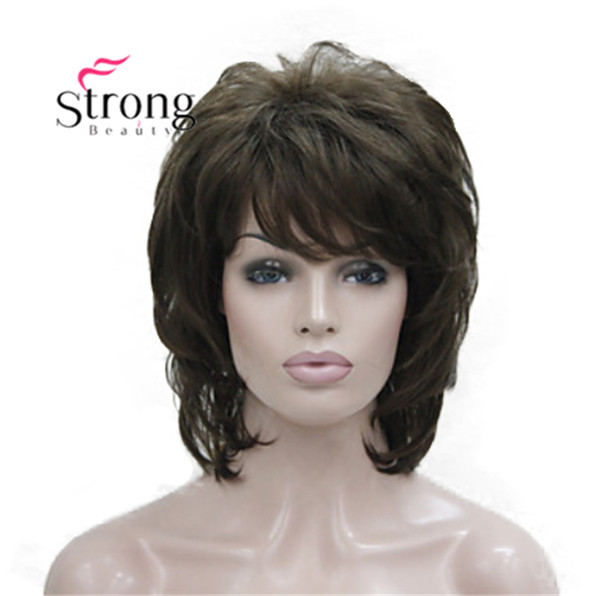 StrongBeauty Short Soft Fluffy Layered Brown Classic Cap Thick Full Synthetic Wig Women's Hair Wigs COLOUR CHOICES