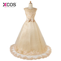 A Line Cap Sleeve Lace White Ivory Flower Girl Dresses 2016 Lace Up Back First Communion