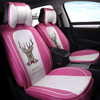 2018 New Flax Mr. Deer car seat covers car styling for bmw ford toyota passat volkswagen chevrolet skoda all sedan