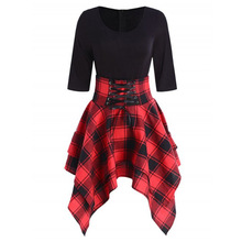 Feitong Women Mini Dress Gothic Preppy Sexy High Waist Plaid Asymmetric Hot Casual Female Fashion Elegant Goth Punk Short Dress-in Dresses from Women's Clothing on Aliexpress.com | Alibaba Group