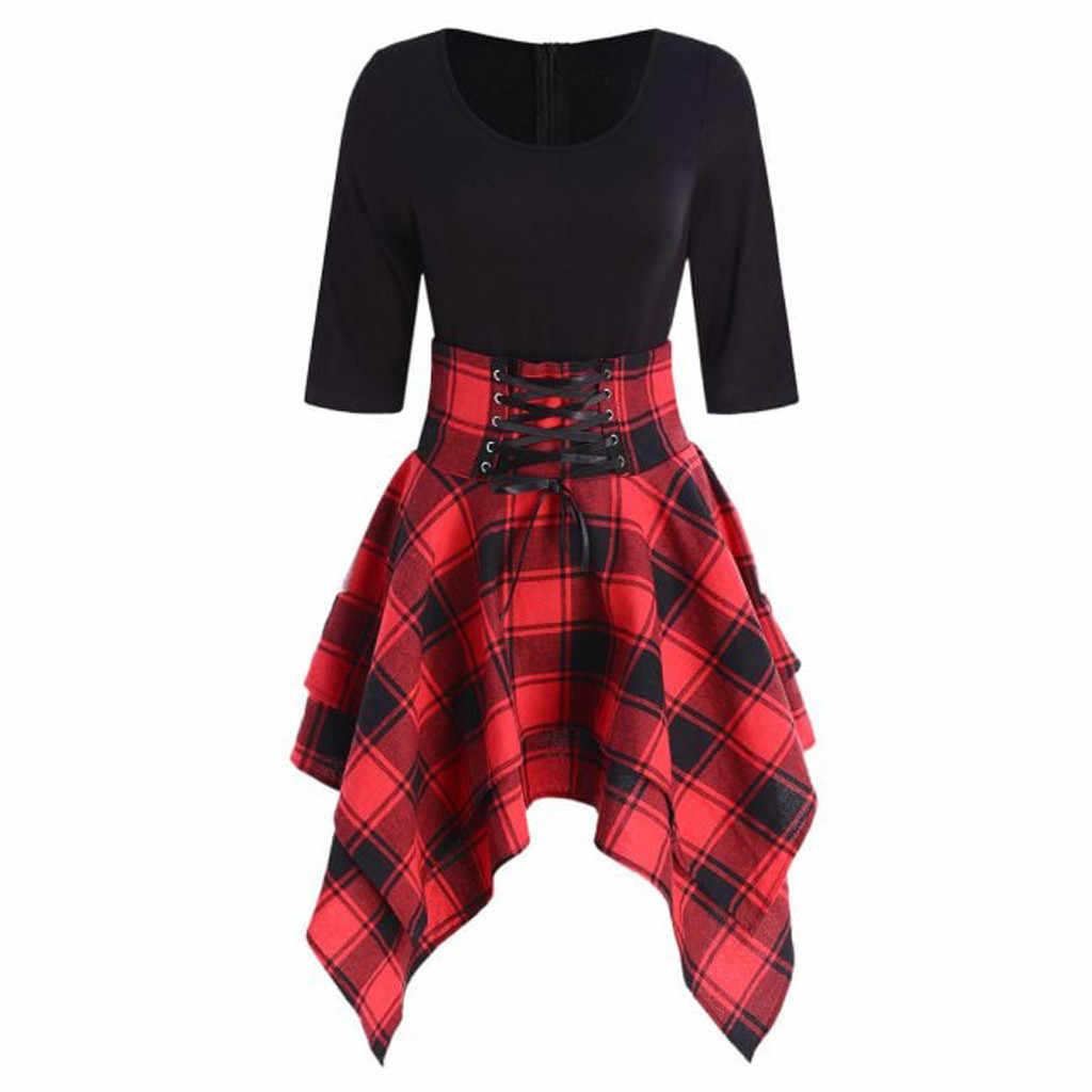 Feitong/женское мини-платье в готическом стиле, опрятное, сексуальное, с высокой талией, в клетку, асимметричное, горячее, повседневное, женское, модное, элегантное, готическое, панк, короткое платье