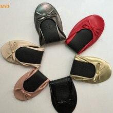 284b19efbf Venta caliente blanco puro mujeres favor zapatos de bailarina plegable para  regalo de boda a precio barato