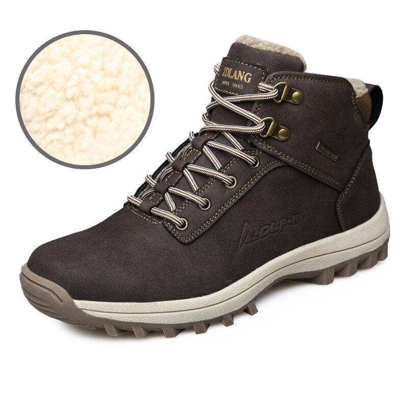 39-46 Мужские ботинки Плисовые теплые зимние полусапоги Для мужчин зимняя обувь больших размеров Мужские зимние сапоги чёрный; коричневый
