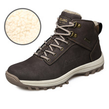 39-46 Men Boots Plush Warm Winter Boots Men Big Size Winter Shoes Men Snow Boots Black Brown