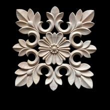 Rubber Wood Carved Applique Retro Door Heart Shaped Long Flower Figurine Miniature Ornaments
