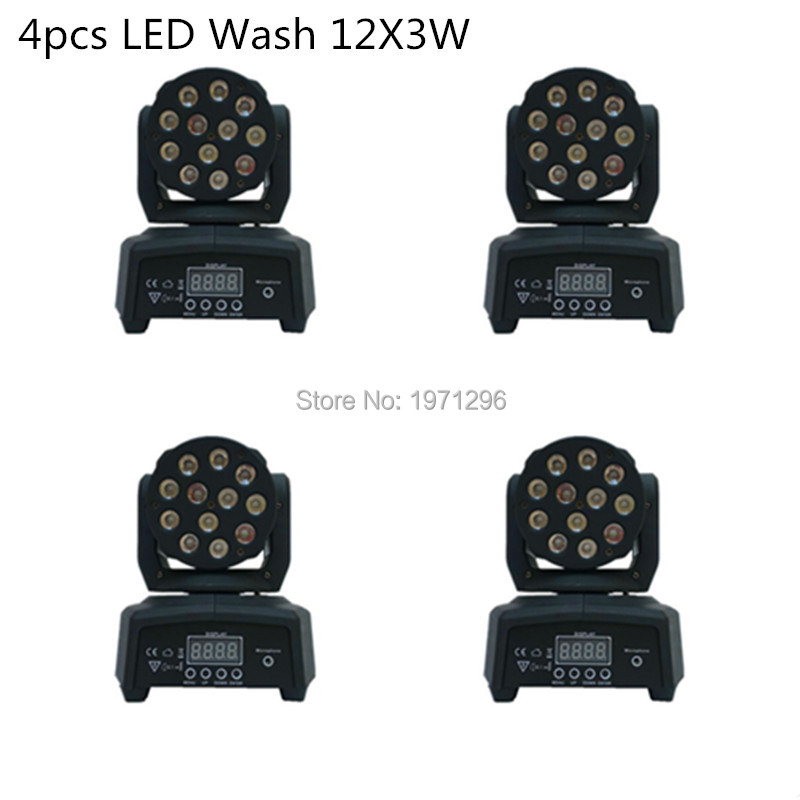 4 pieces Promotional Packaging  DMX Stage Light LED Moving Head Mini wash 12X3W RGB Professional Stage & DJ  factory price