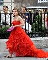 Gossip Girl Blair Vestidos Red Organza Drapeado Vestidos de Noite Strapless Mangas vestidos de celebridades Vestidos de Celebridades