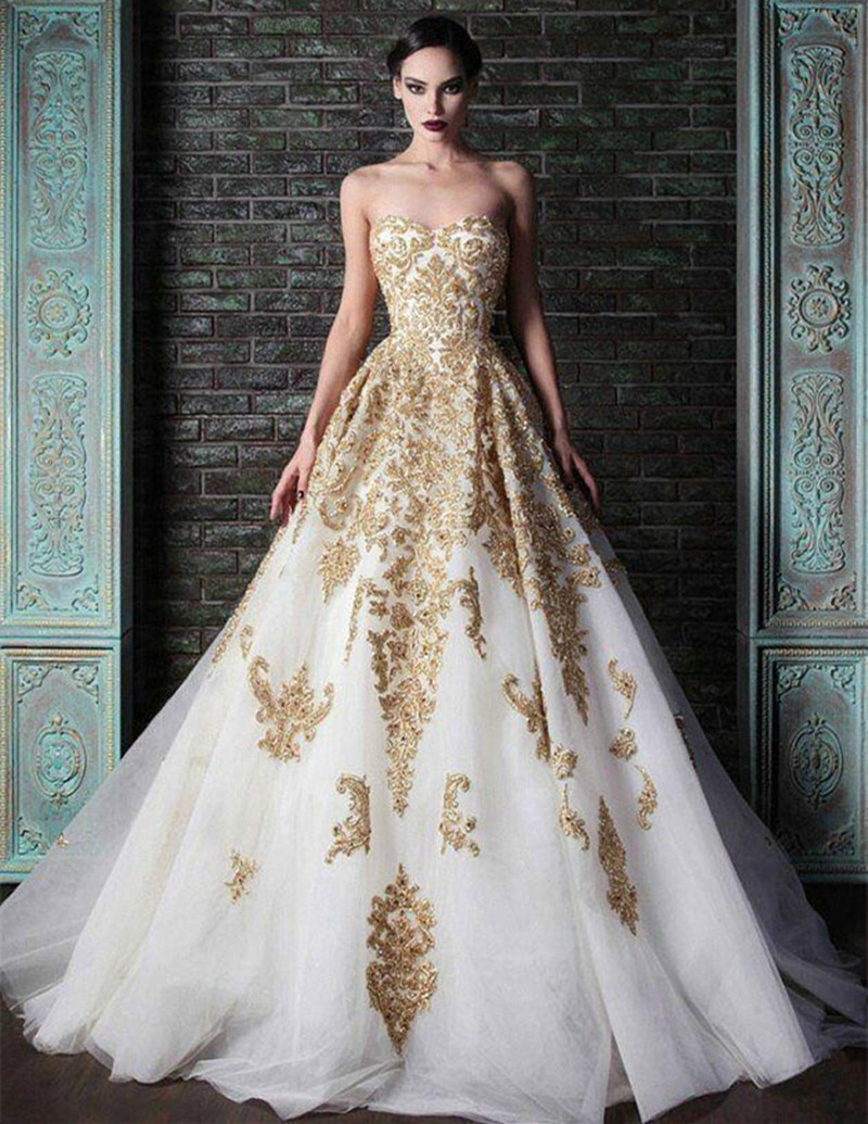 Aliexpress Buy 2016 Vintage Design Gold Lace Wedding Dresses
