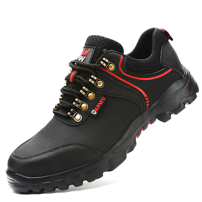 Men's Shoes Modfy Mens Safety Shoes Soft And Lightweight Anti-smashing Steel Toe Cap Anti-piercing Construction Work Footwear Hook&loop Men's Boots