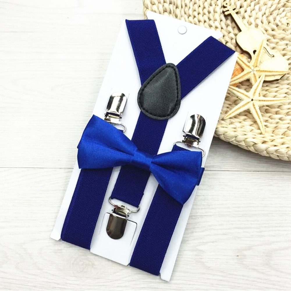 New Kids Elastic Suspenders & Bow Tie Matching Tuxedo Suit Unisex Boy Girl Bowtie Children Costume Adjustable Y-Back Brace Belt