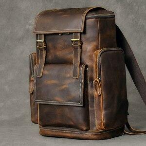 Image 2 - レトロ本革男性のバックパック大容量のラップトップバッグ学校のバックパック男性ショルダーバッグ茶色の革旅行バックパック