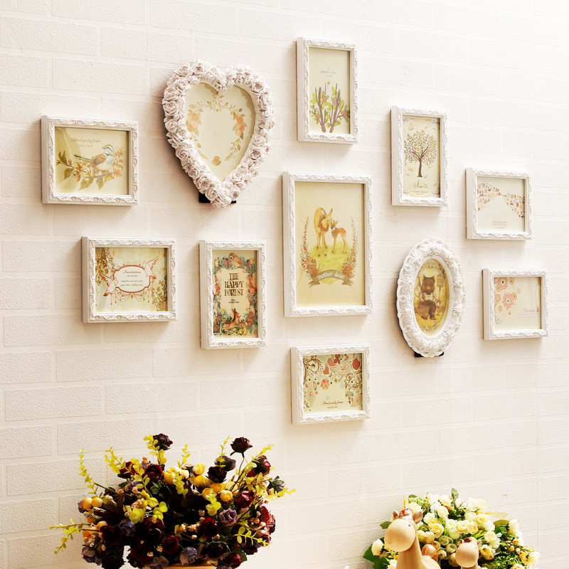 11pcs engraver wood mediterranean style baroque white green decorative wall photo frame sets romantic for wedding