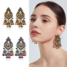 Vintage Indian Colorful Earrings Fashion Jewelry 2019 Indian Boho Carved Ancient 8 Color Drop Earrings For Women Accessories ancient indian study on mind