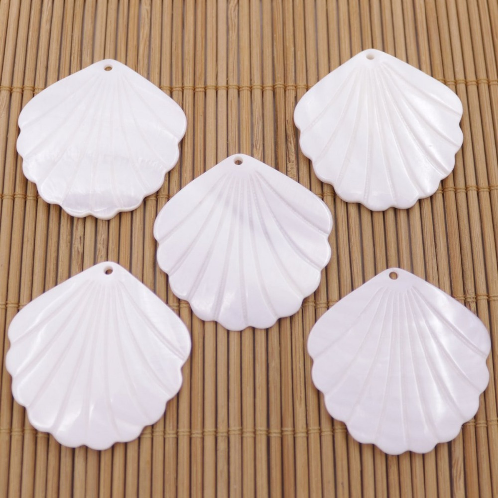 5 PCS 38mm Shell Natural White Mother of Pearl Charms  Pendants fan