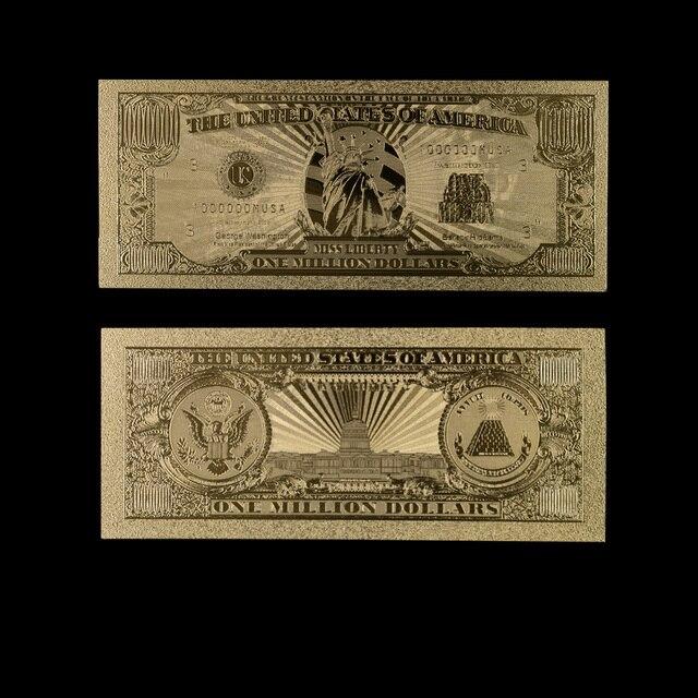 Papel dinero billetes de oro EE. UU. HOJA DE ORO 1 millón de dólares billetes de billete de oro colección de billetes decoración del hogar