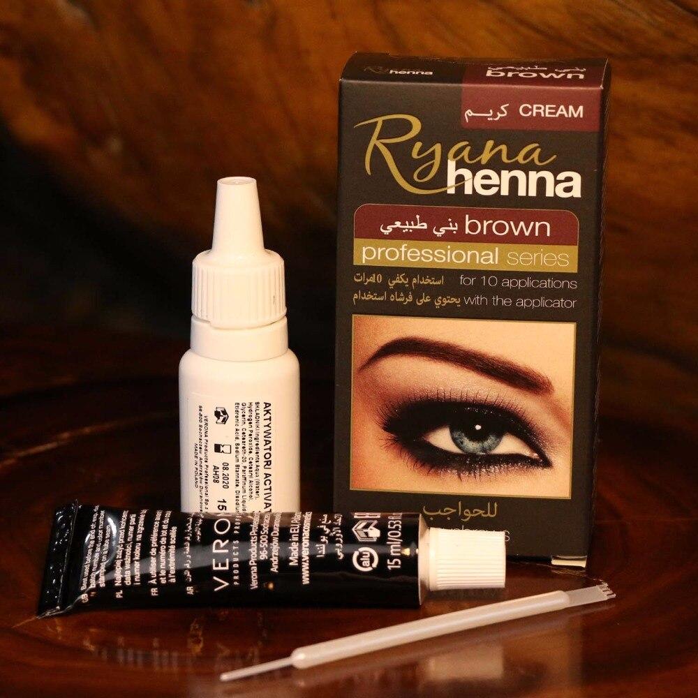 Ryana Henna de cejas naturales delineador de ojos tinte Kit marrón negro disponible profesional pestañas crema fácil tinte última