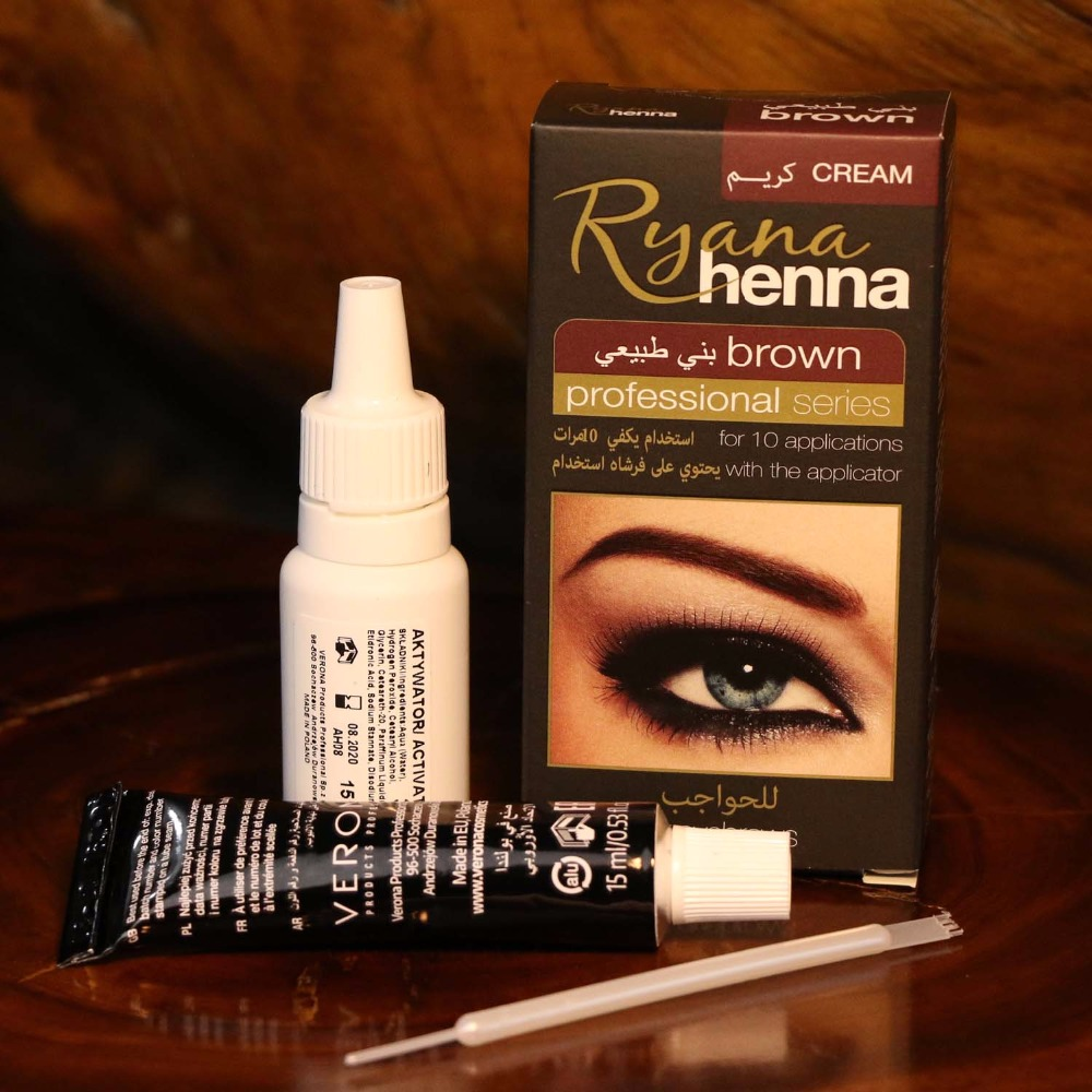 Ryana Henna Natural Eyebrow Eyeliner Tint Kit Brown Black Available Professional Eyelashes Cream Easy Dye Long Last