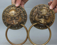 Copper Brass Craft B0602 18CM Chinese Bronze Carved Fengshui Mask Head Statue Door Lion Knocker Pair
