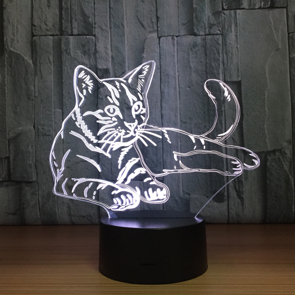 Lovely Cat 3D Night Light Touch Switch LED Animal 3D Lamp 7 Colors USB Illusion Desk Lamp Home Decor As Kids Toy Birthday Gift cat 3d night light animal changeable mood lamp led 7 colors usb 3d illusion table lamp for home decorative as kids toy gift