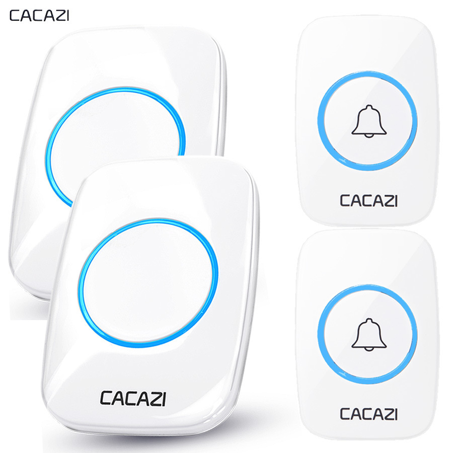 CACAZI New Wireless Doorbell Waterproof 300M Remote EU AU UK US Plug Door Bell Chime LED light 110DB sound 2 button 2 receiver wireless cordless digital doorbell remote door bell chime waterproof eu us uk au plug 110 220v