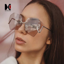 SHAUNA Oversize Irregular Women Rimless Sunglasses Unique Men Clear Purple Lens Glasses UV400