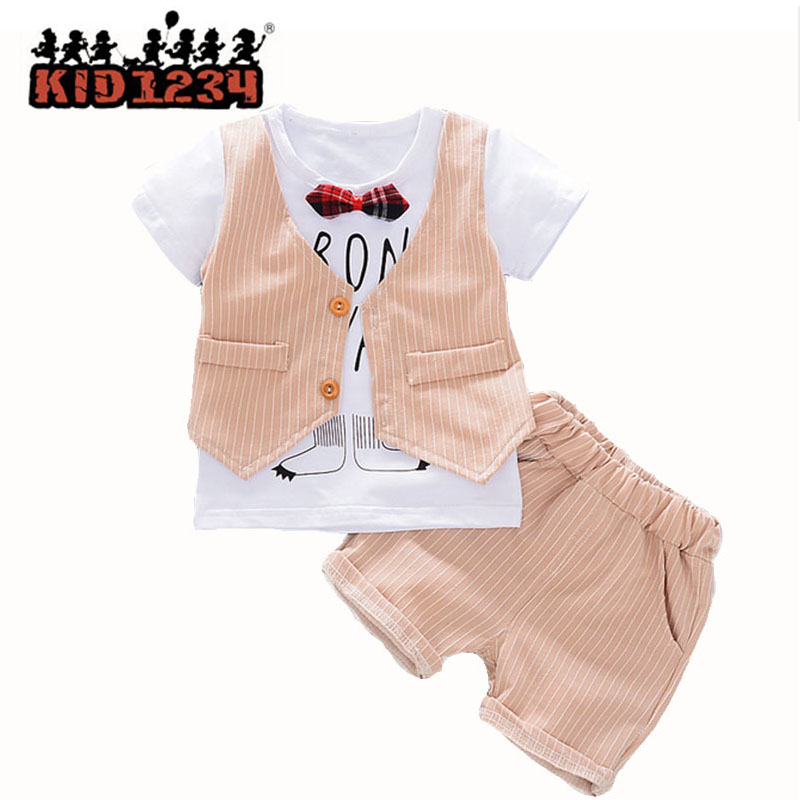Casual Suit for Boys Clothing Set Striped Children Clothing Short-Sleeved T-shirt+shorts 2pcs Toddler Kids Summer Clothes